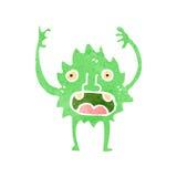 Retro cartoon little green monster Stock Image