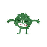 Retro cartoon little green monster Stock Images