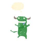 Retro cartoon little monster with speech bubble Stock Photo