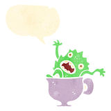 Retro cartoon little monster in tea cup Stock Images