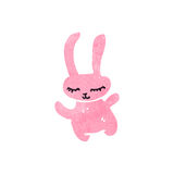 Retro cartoon little pink rabbit Stock Photo