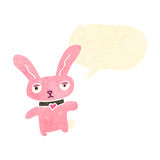 Retro cartoon little pink rabbit with speech bubble Stock Photography