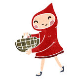 Retro cartoon little red riding hood Stock Photo