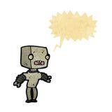 Retro cartoon little robot with speech bubble Royalty Free Stock Image