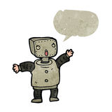 Retro cartoon little robot with speech bubble Royalty Free Stock Image