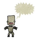 Retro cartoon little robot with speech bubble Royalty Free Stock Photos