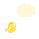 Retro cartoon little yellow bird Stock Photos