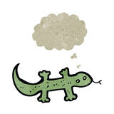 Retro cartoon lizard with thought bubble Royalty Free Stock Image