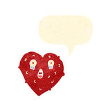Retro cartoon lonely heart with speech bubble Stock Photography