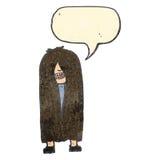 Retro cartoon long hair hippie Royalty Free Stock Photo