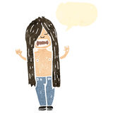 Retro cartoon long hair hippie man Royalty Free Stock Images