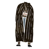 Retro cartoon long hair hippie man Stock Image