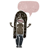 retro cartoon long haired hippie man Stock Image