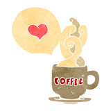 Retro cartoon love coffee symbol Royalty Free Stock Photos