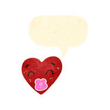 Retro cartoon love heart with speech bubble Stock Photography