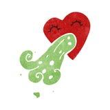 Retro cartoon love sick heart Stock Images