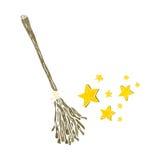 retro cartoon magic broom stick Stock Photography