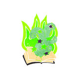 Retro cartoon magic spell book Royalty Free Stock Photography