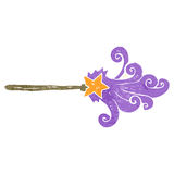 Retro cartoon magic wand casting spell Stock Images
