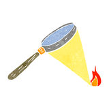 Retro cartoon magnifying glass starting fire. Retro cartoon with texture. Isolated on White Royalty Free Stock Images