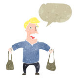 Retro cartoon mam with shopping bags and speech bubble Royalty Free Stock Photo