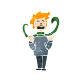 Retro cartoon man attacked by snake Royalty Free Stock Photography