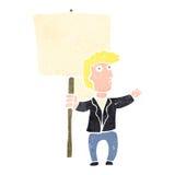 retro cartoon man with blank sign Royalty Free Stock Photo