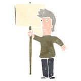 retro cartoon man with blank sign Stock Images