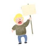 retro cartoon man with blank sign Stock Photos