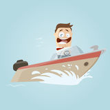 Retro cartoon man on a boat Stock Photos