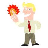 Retro cartoon man with brilliant idea Royalty Free Stock Images