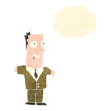 Retro cartoon man in brown suit with thought bubble Stock Photography