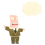 Retro cartoon man in brown suit with thought bubble Royalty Free Stock Photography