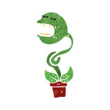 Retro cartoon man carnivorous plant Stock Photos