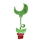 Retro cartoon man carnivorous plant Royalty Free Stock Image