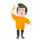 Retro cartoon man combing hair. Retro cartoon illustration. On plain white background Royalty Free Stock Photos