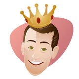 Retro cartoon man with a crown Stock Photography