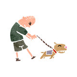 Retro cartoon man with dog on lead Stock Images
