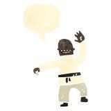 retro cartoon man doing karate chop Royalty Free Stock Images