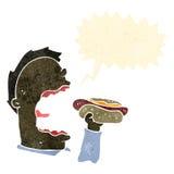 Retro cartoon man eating hotdog Royalty Free Stock Photography