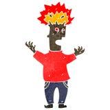 Retro cartoon man with exploding head Royalty Free Stock Photography