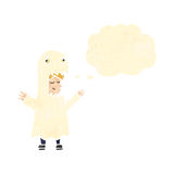 Retro cartoon man in ghost costume with thought bubble Stock Image