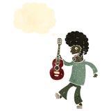 Retro cartoon man with guitar Stock Photography