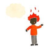 Retro cartoon man with hair on fire Royalty Free Stock Photo