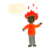 Retro cartoon man with hair on fire Stock Images