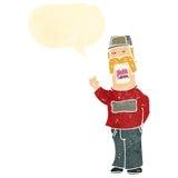 Retro cartoon man with handlebar mustache. Retro cartoon with texture. Isolated on White Stock Photography