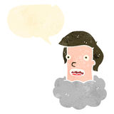 Retro cartoon man with head in clouds Royalty Free Stock Photography