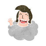 Retro cartoon man with head in clouds Stock Photography