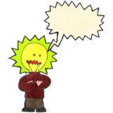 Retro cartoon man with light bulb head Stock Photos