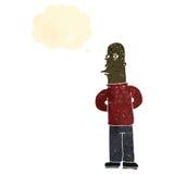 Retro cartoon man with narrowed eyes Stock Photo